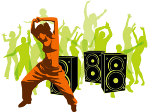 female hip hop dancer in front of speakers