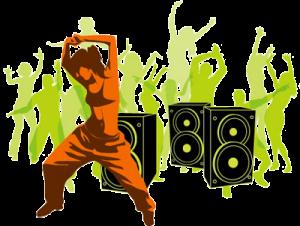 female hip hop dancer in front of speakers