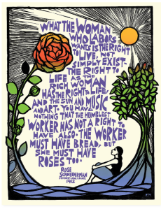 Ricardo Levins Morales illustrates a quote by Rose Schneiderman